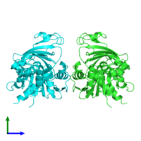 PDB 5c7l coloured by chain and viewed from the side.
