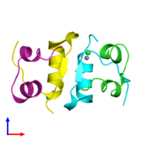 PDB 5co9 coloured by chain and viewed from the front.