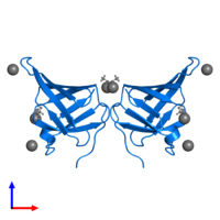 PDB 5cyb contains 2 copies of DUF3642 domain-containing protein in assembly 1. This protein is highlighted and viewed from the front.
