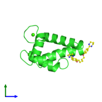 PDB 5dkq coloured by chain and viewed from the side.