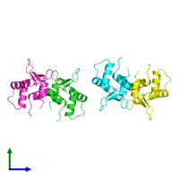 PDB 5e8g coloured by chain and viewed from the side.