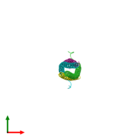 PDB 5eoa coloured by chain and viewed from the top.