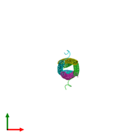 PDB 5eof coloured by chain and viewed from the top.