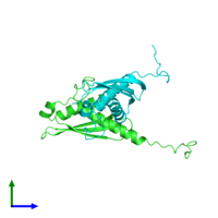 PDB 5iw9 coloured by chain and viewed from the side.