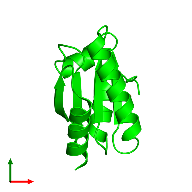 <div class='caption-body'><ul class ='image_legend_ul'> Monomeric assembly 1 of PDB entry 5j7d coloured by chemically distinct molecules and viewed from the top. This assembly contains:<li class ='image_legend_li'>One copy of Designed Thioredoxin dF106</li><li class ='image_legend_li'>One copy of COPPER (II) ION</li></ul></div>