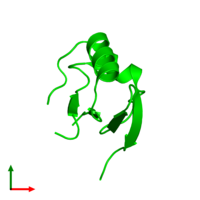 Monomeric assembly 7 of PDB entry 5j7d coloured by chemically distinct molecules and viewed from the top.