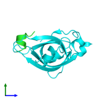PDB 5n8a coloured by chain and viewed from the side.
