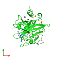 PDB 5q0h coloured by chain and viewed from the top.