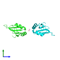 PDB 5tbx coloured by chain and viewed from the side.