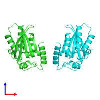PDB 5tkm coloured by chain and viewed from the front.