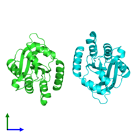 PDB 5tkm coloured by chain and viewed from the side.