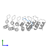 PDB 5w7i contains 1 copy of Synaptosomal-associated protein 25 in assembly 1. This protein is highlighted and viewed from the side.