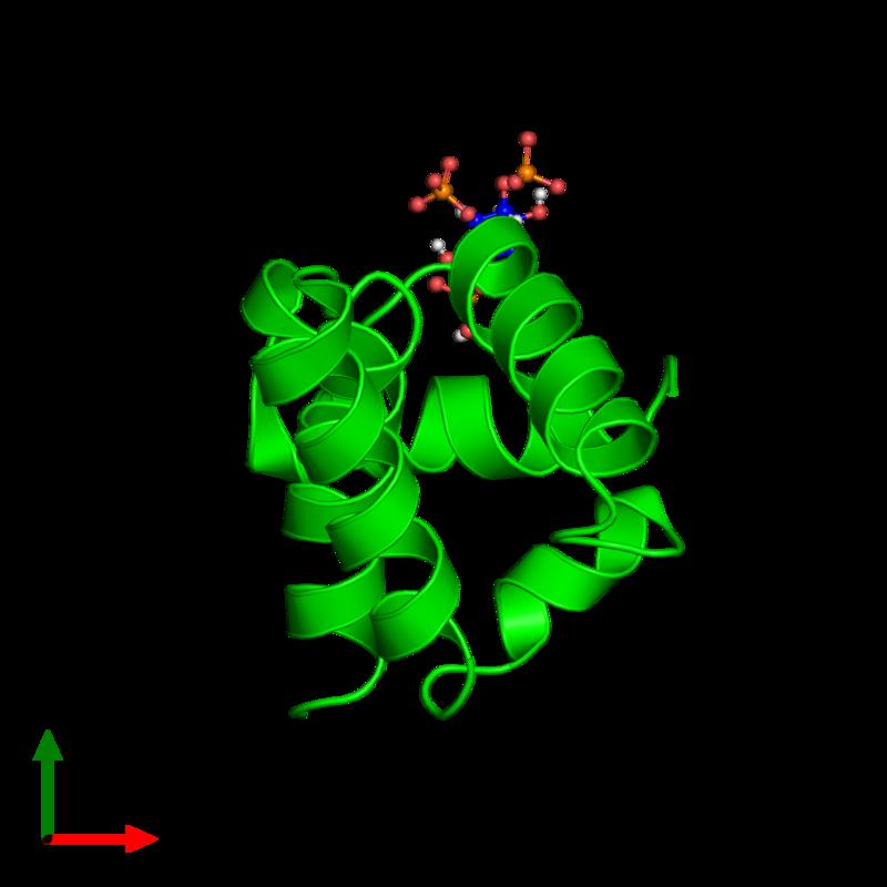 <div class='caption-body'><ul class ='image_legend_ul'> Monomeric assembly 1 of PDB entry 6cv8 coloured by chemically distinct molecules and viewed from the top. This assembly contains:<li class ='image_legend_li'>One copy of Matrix protein p19</li><li class ='image_legend_li'>One copy of D-MYO-INOSITOL-1,4,5-TRIPHOSPHATE</li></ul></div>