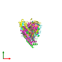 PDB 6czz coloured by chain and viewed from the top.