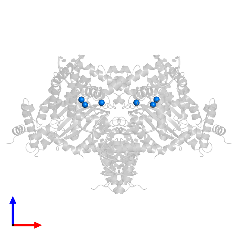 <div class='caption-body'>PDB entry 6dww contains 6 copies of MANGANESE (II) ION in assembly 1. This small molecule is highlighted and viewed from the front.</div>