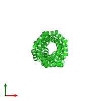 PDB 6eou coloured by chain and viewed from the top.