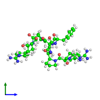Monomeric assembly 1 of PDB entry 6f3v coloured by chemically distinct molecules and viewed from the side.