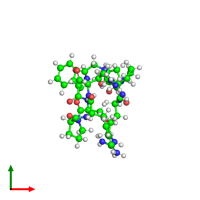 Monomeric assembly 1 of PDB entry 6f3v coloured by chemically distinct molecules and viewed from the top.