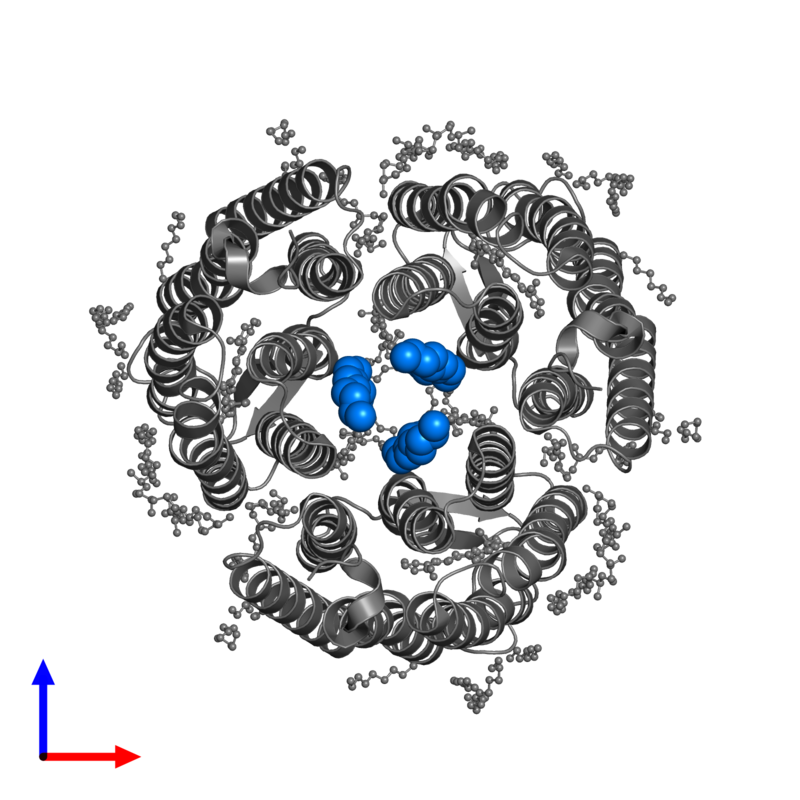 <div class='caption-body'>PDB entry 6ga6 contains 3 copies of TETRADECANE in assembly 1. This small molecule is highlighted and viewed from the front.</div>