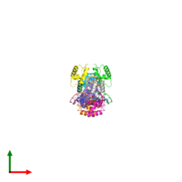 PDB 6j5b coloured by chain and viewed from the top.