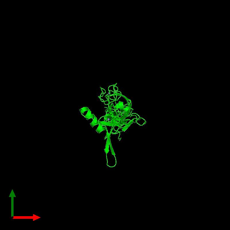 <div class='caption-body'><ul class ='image_legend_ul'>The deposited structure of PDB entry 6jzb coloured by chemically distinct molecules and viewed from the top. The entry contains: <li class ='image_legend_li'>1 copy of Chaperone protein DnaJ</li><li class ='image_legend_li'>There is 1 non-polymeric molecule<ul class ='image_legend_ul'><li class ='image_legend_li'>2 copies of ZINC ION</li></ul></li></div>