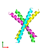 PDB 6lvn coloured by chain and viewed from the top.