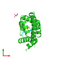 PDB 6otd coloured by chain and viewed from the top.