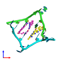 PDB 6qiq coloured by chain and viewed from the front.