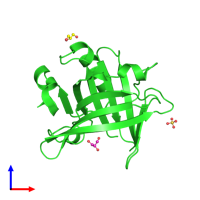 PDB 6qpd coloured by chain and viewed from the front.