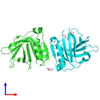 PDB 6ryt coloured by chain and viewed from the front.