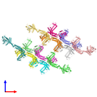 PDB 6rzt coloured by chain and viewed from the front.