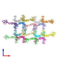 PDB 6rzv coloured by chain and viewed from the front.
