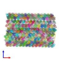 PDB 6u42 coloured by chain and viewed from the front.
