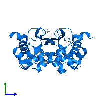 PDB 6wzq contains 2 copies of Nucleoprotein in assembly 1. This protein is highlighted and viewed from the side.