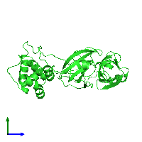PDB 6y2e coloured by chain and viewed from the side.