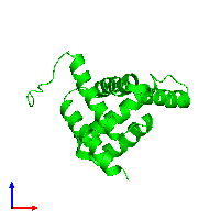 Monomeric assembly 1 of PDB entry 7bqq coloured by chemically distinct molecules and viewed from the front.