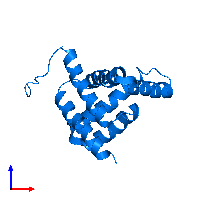 PDB 7bqq contains 1 copy of Gogy in assembly 1. This protein is highlighted and viewed from the front.