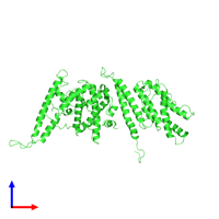 PDB 7jgf coloured by chain and viewed from the front.
