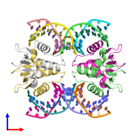 PDB 7jsl coloured by chain and viewed from the front.