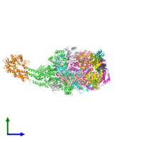 PDB 7l6n coloured by chain and viewed from the side.