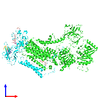PDB 7oh4 coloured by chain and viewed from the front.