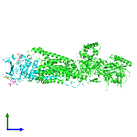 PDB 7oh4 coloured by chain and viewed from the side.