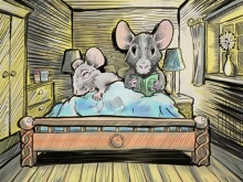 Artist's interpretation of social genetic effects: mice with different sleeping preferences