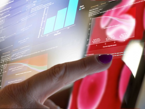 Touchscreen showing genetic data. Credit Wellcome Sanger Institute