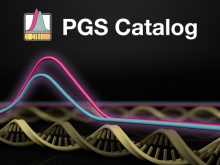 PGS Catalog logo on dark background with DNA strand
