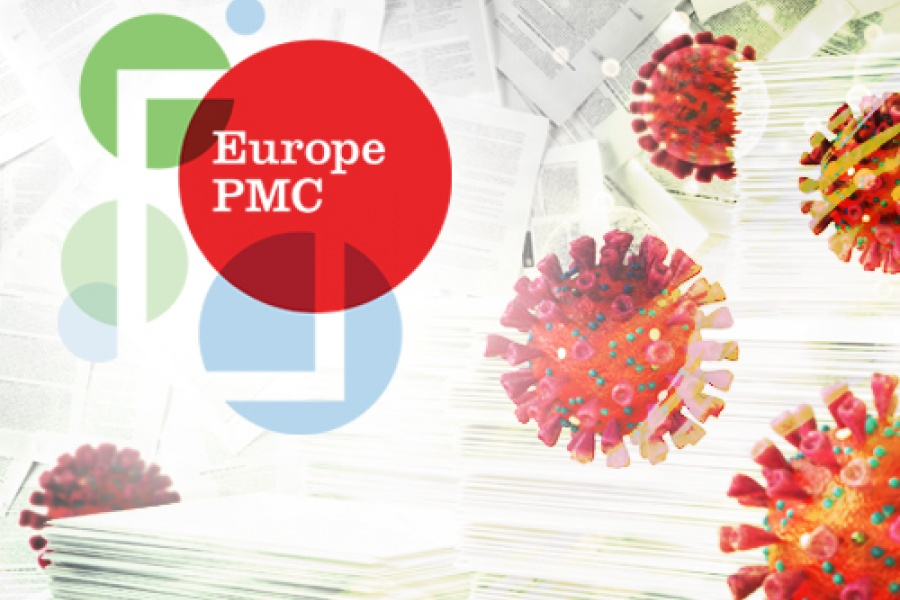 Europe PMC logo with red viral particles floating around it. Credit: Spencer Phillips/EMBL, iStock