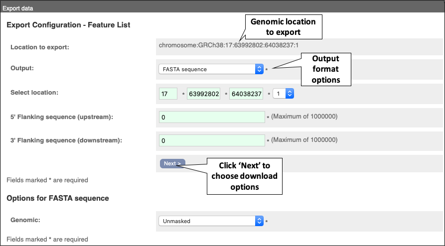 Figure 8. The 'Export data' menu. This allows you to select the appropriate file format and data type.