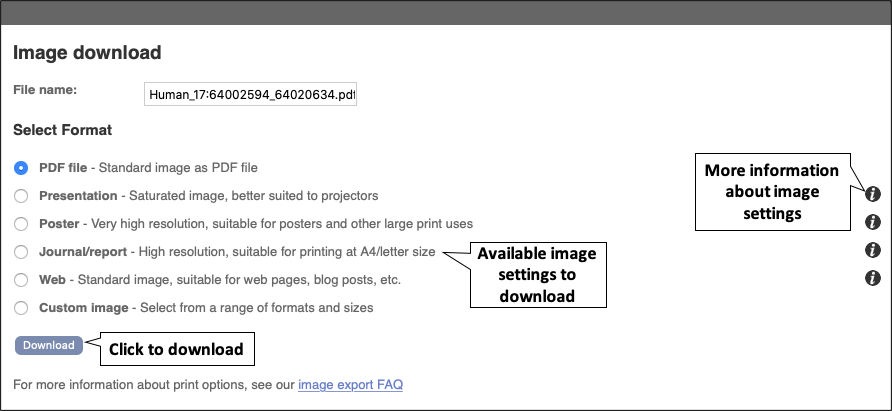 Figure 9. The 'Image download' menu. This allows you to select the appropriate image settings.