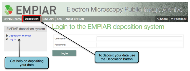 Accessing the EMPIAR deposition tool