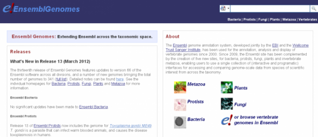 The Ensembl Genomes homepage